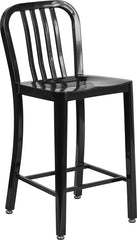 24'' High Black Metal Indoor-Outdoor Counter Height Stool with Vertical Slat Back