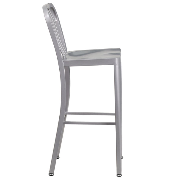 30'' High Silver Metal Indoor-Outdoor Barstool with Vertical Slat Back