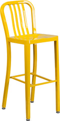 30'' High Yellow Metal Indoor-Outdoor Barstool with Vertical Slat Back