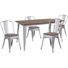 "30.25"" x 60"" Silver Metal Table Set with Wood Top and 4 Stack Chairs"