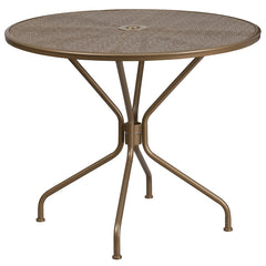 35.25'' Round Gold Indoor-Outdoor Steel Patio Table
