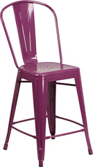 24'' High Purple Metal Indoor-Outdoor Counter Height Stool with Back