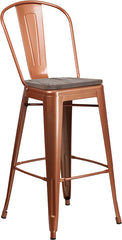 "30"" High Copper Metal Barstool with Back and Wood Seat"
