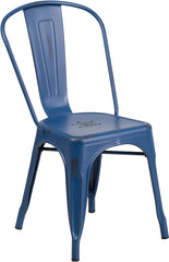 Distressed Antique Blue Metal Indoor-Outdoor Stackable Chair