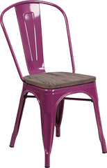 Purple Metal Stackable Chair with Wood Seat