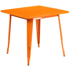 31.5'' Square Orange Metal Indoor-Outdoor Table