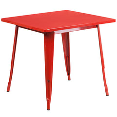 31.5'' Square Red Metal Indoor-Outdoor Table