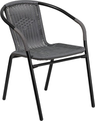Gray Rattan Indoor-Outdoor Restaurant Stack Chair