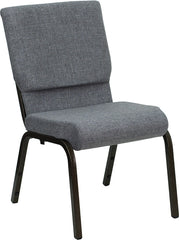 HERCULES Series 18.5''W Stacking Church Chair in Gray Fabric - Gold Vein Frame
