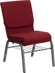 HERCULES Series 18.5''W Church Chair in Burgundy Fabric with Book Rack - Silver Vein Frame