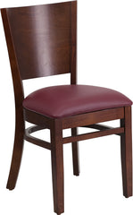 Lacey Series Solid Back Walnut Wood Restaurant Chair - Burgundy Vinyl Seat