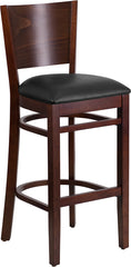 Lacey Series Solid Back Walnut Wood Restaurant Barstool - Black Vinyl Seat