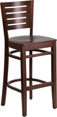 Darby Series Slat Back Walnut Wood Restaurant Barstool