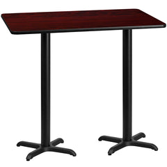 30'' x 60'' Rectangular Mahogany Laminate Table Top with 22'' x 22'' Bar Height Table Bases