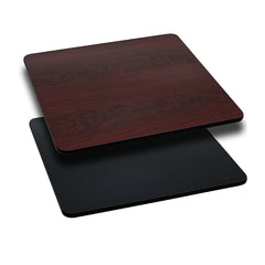 36'' Square Table Top with Black or Mahogany Reversible Laminate Top