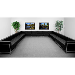 HERCULES Imagination Series Black Leather U-Shape Sectional Configuration, 16 Pieces