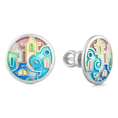"Silver earrings ""Athens Houses"" - Namfleg Jewelry"