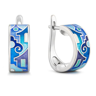 "Silver earrings ""Santorini Houses"" - Namfleg Jewelry"