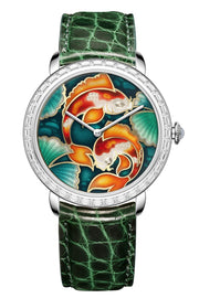 Namfleg Watches Stainless Steel with 36 Zircons Inspiring Carps. Floating Treasure.