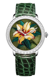 Namfleg Watches Stainless Steel with 36 Zircons Yellow Lily