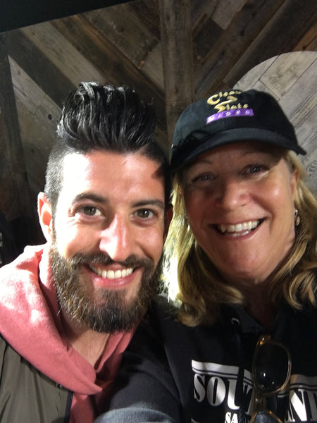 Robin with the Food Network's Josh Elkin on set