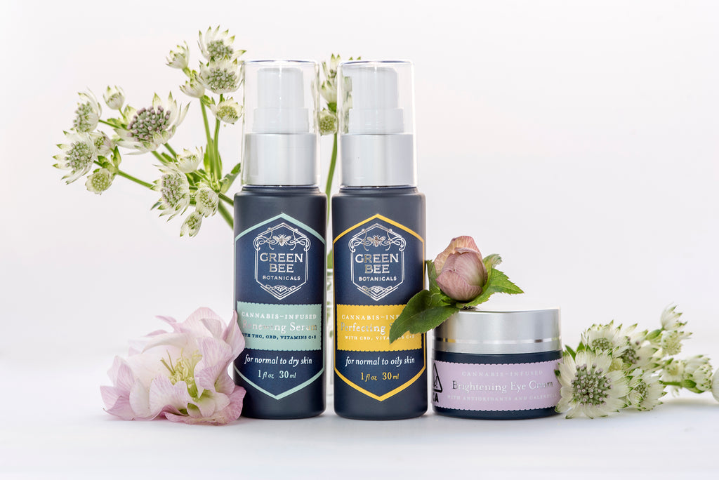 Green Bee Botanicals's clean cannabis skincare line includes two face serums — for normal-to-dry skin and normal-to-oily skin — and Brightening Eye Cream, which won Silver in December 2019 at The Emerald Cup, the largest cannabis competition in the world.
