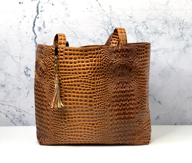 Bubble Gator Cognac Tote (Note** 7 Business Day Turnaround)