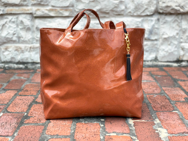 Longhorn Glitter Tote (NATURAL CREASES DUE TO WEATHERING OF FABRIC)