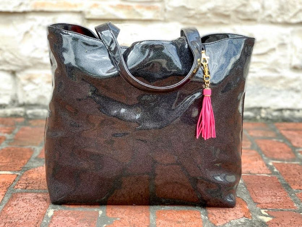 Onyx Glitter Tote (NATURAL CREASES DUE TO WEATHERING OF FABRIC)