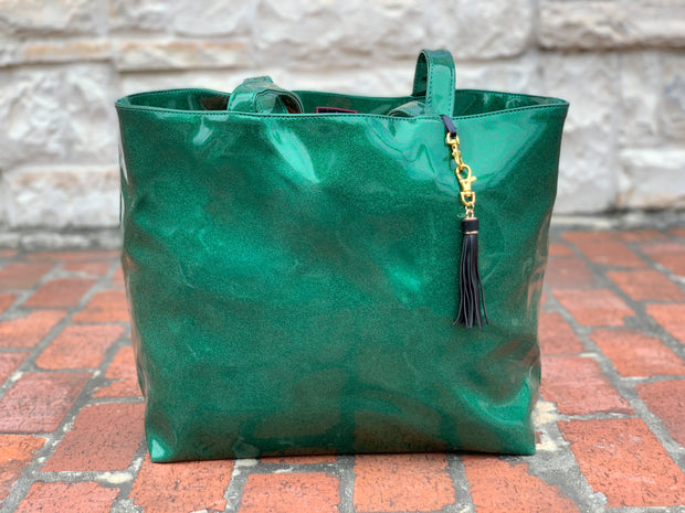 Emerald Glitter Tote (NATURAL CREASES DUE TO WEATHERING OF FABRIC)