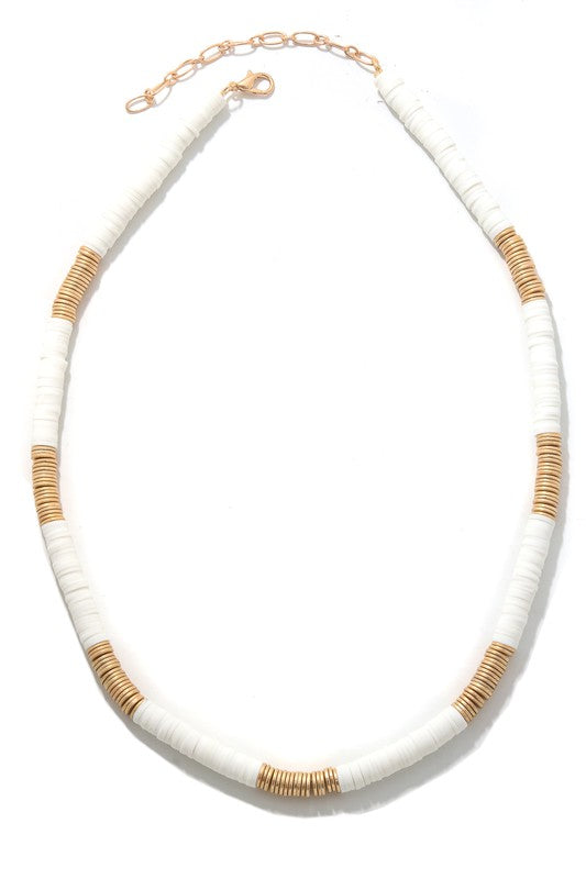 White and Gold Beaded Necklace