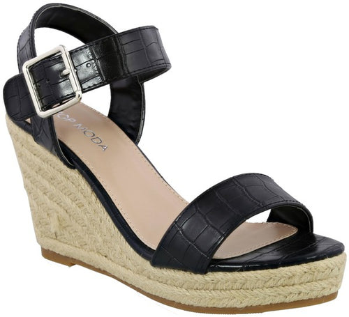 Black Croc Espadrille Wedge