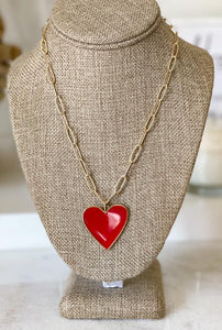 Enamel Heart with Paperclip Necklace