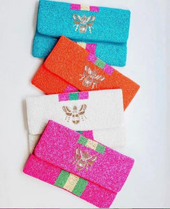 Bright Colored Beaded Bee Clutch