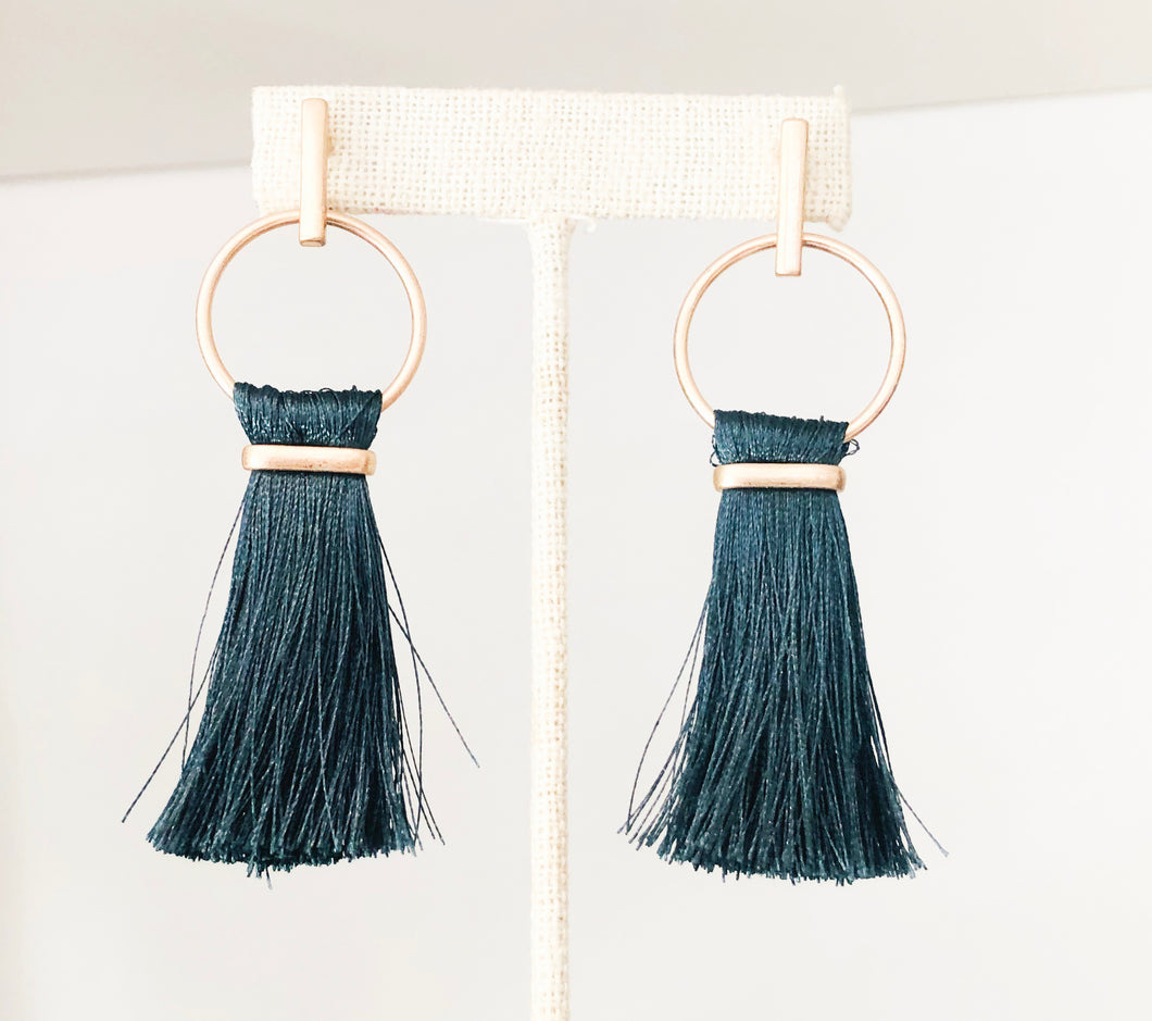 Forest Green Tassel Ring Earrings