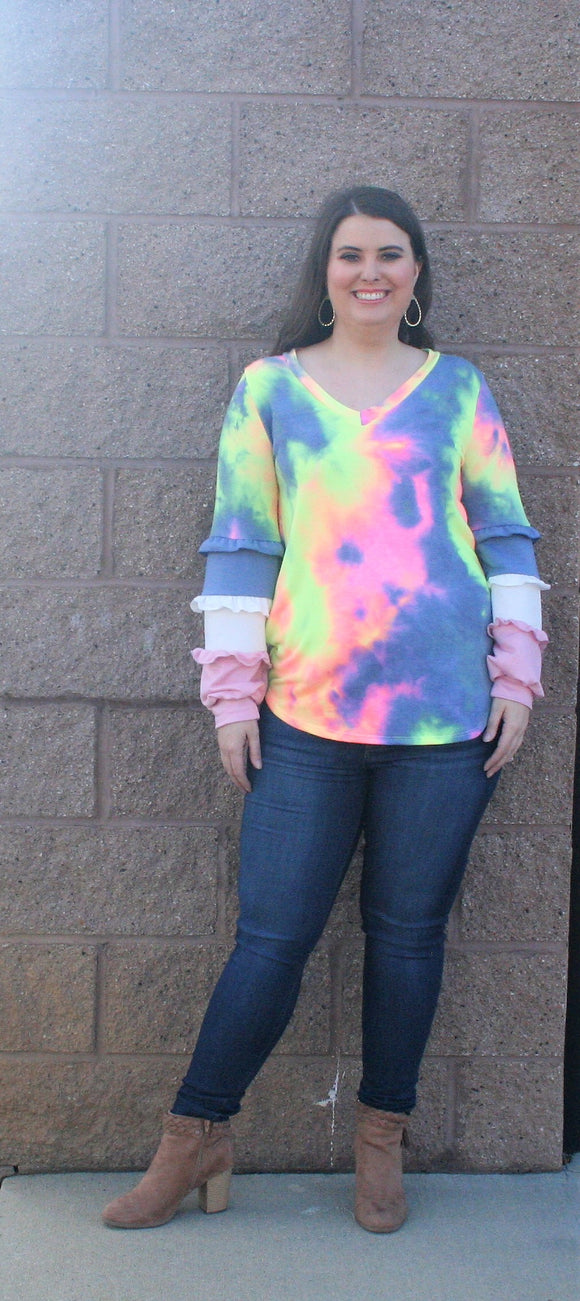 Cruz Tie Dye Ruffle Sleeve Top