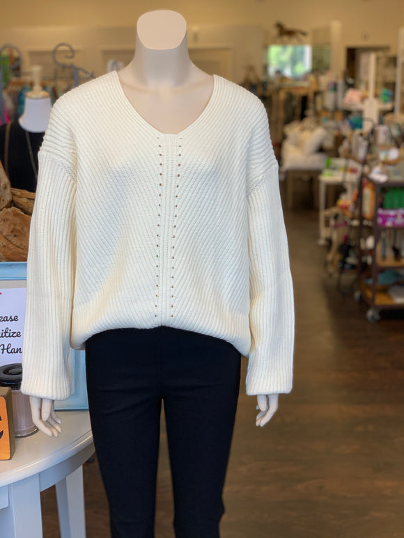 Pointelle Ribbed V-Neck Sweater