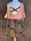 Leopard Contrast Criss Cross Top-Plus Only