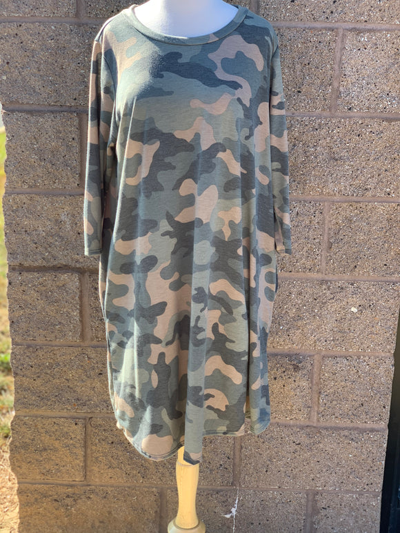 Camo Pocket Dress-Plus Size Only