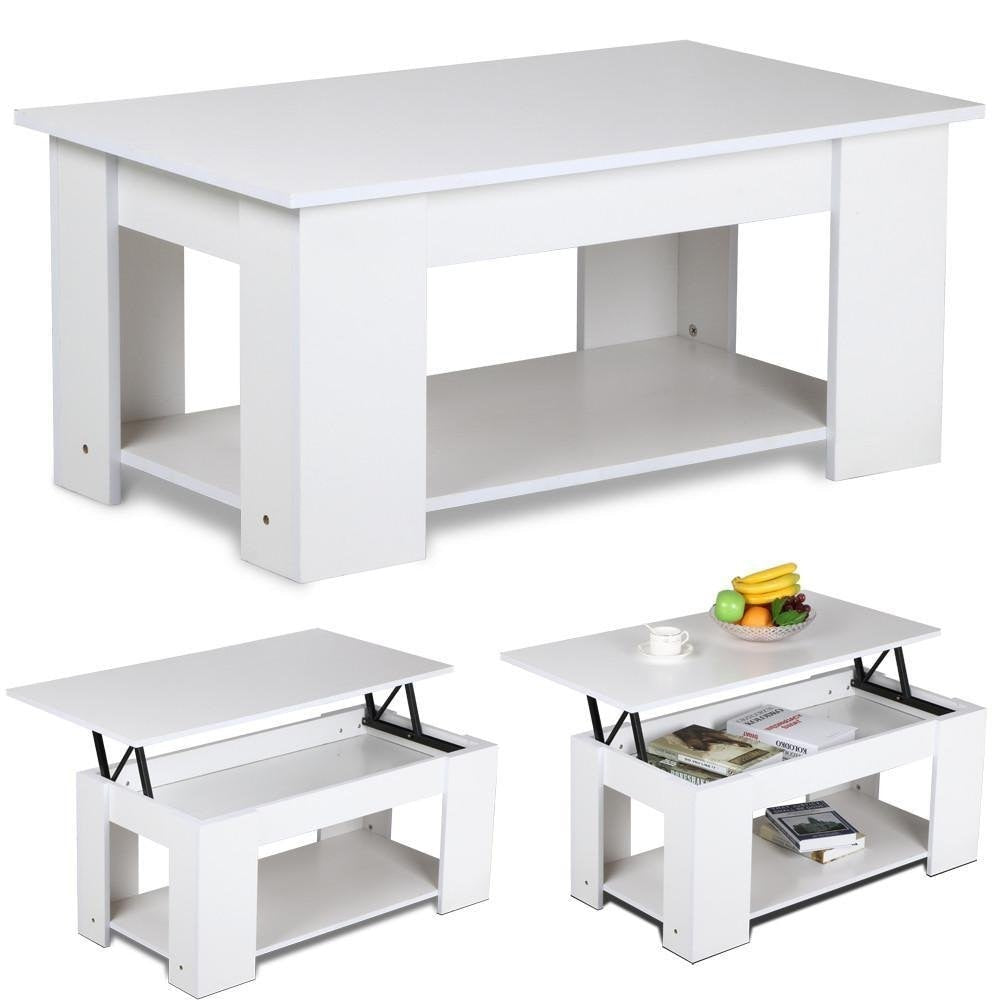 Lift Up Top Coffee Table Hidden Storage Compartment Living Room