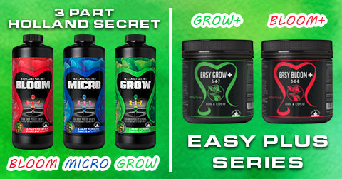 A split screen of the Future Harvest 3 Part Holland Secret and the 1 Part Easy Grow, Easy Bloom series
