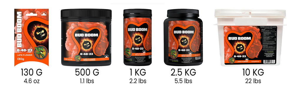 Future Harvest Bud Boom Available Sizes