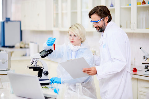 Scientists testing nutrients for quality