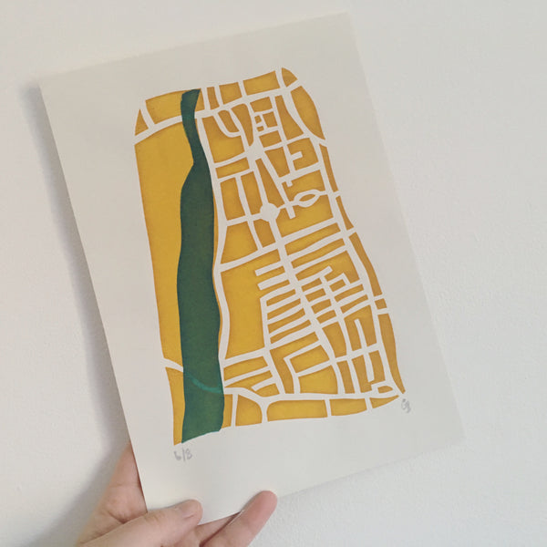Bedford Embankment Screen Print - On The Map