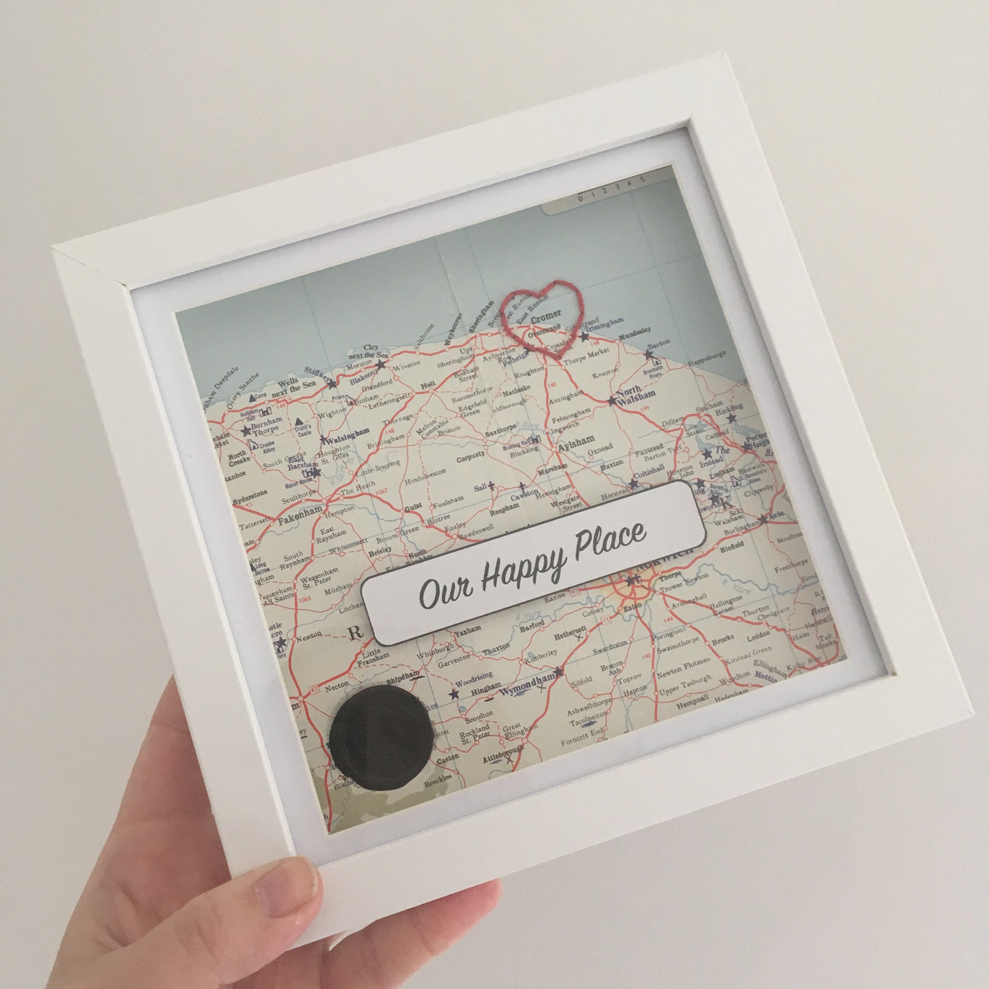 Happy Place Embroidered Mapwork