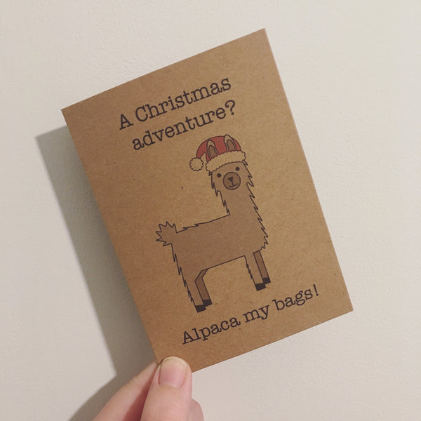 Christmas Adventure Alpaca Greetings Card