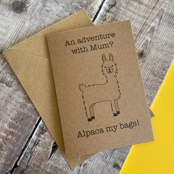 Alpaca Adventure With Mum Greetings Card