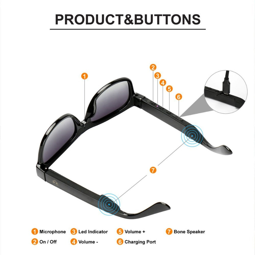 VOCALSKULL Alien Bone Conduction Sunglasses Headphones with Mic (Brilliant Black Frame)