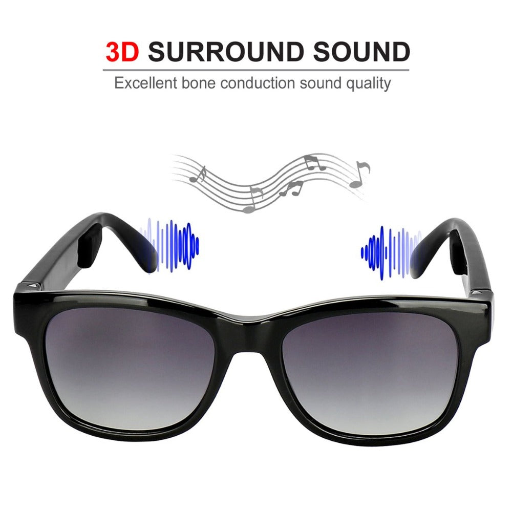 VOCALSKULL Alien 5 Bone Conduction Sunglasses Headphones with Mic (Brilliant Black Frame)