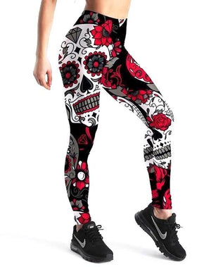 Leggings rouge tête de mort - L&L since 2007